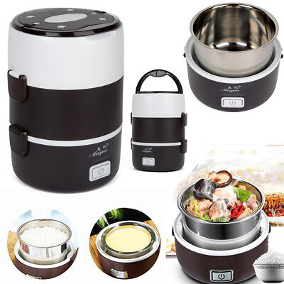 Portable 3 Layers Electric Lunch Box Steamer Pot Rice Cooker Stainless Steel