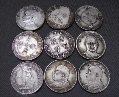 Mixed of 9pcs Collectables China and world old silver Coins