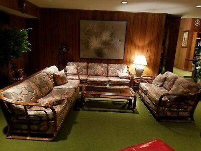 AWESOME Vtg Mid Century Modern 5 Pc Curved Bamboo Rattan Floral SET