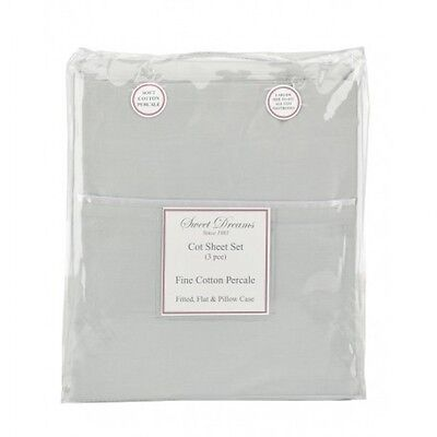 Sweet Dreams GREY COT SHEET SET 3PCE