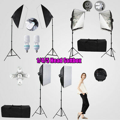 1/4/5 HEAD Photography Continuous Lighting Softbox Soft Box Light Stand PRO Kit