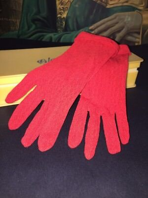 Vintage Red Gloves 1950s ? Stretchy Lace