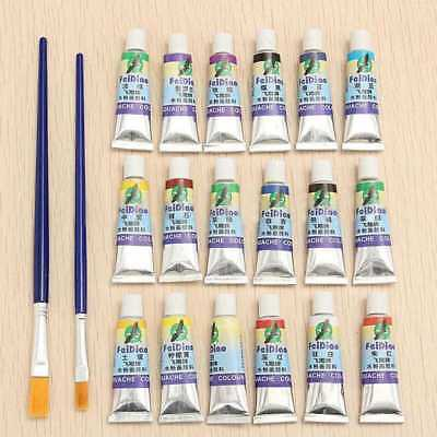 18 Colors Watercolor Paint Tube Draw Painting Gouache Set + 2pcs Artist Brush