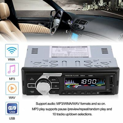 1 DIN Car Stereo 12V FM Radio SD/USB/AUX Bluetooth Remote Head Unit MP3 Player @