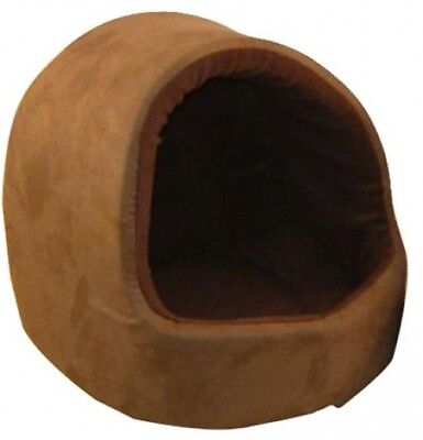 Pet Bed Dog Cat Puppy Kitten Soft Warm Hooded Suede Fleece Washable Brown Deluxe