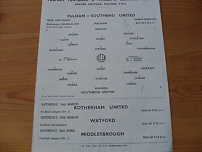 Fulham Res v Southend Res programme dated 16-3-1955  (235)