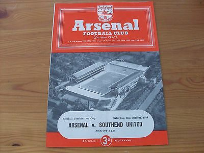 Arsenal Res v Southend Res FCC programme dated 2-10-1954  (343)