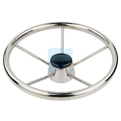13-1/2'' Boat Steering Wheel Stainless Steel Marine Steering 5 Spoke 25 Degree