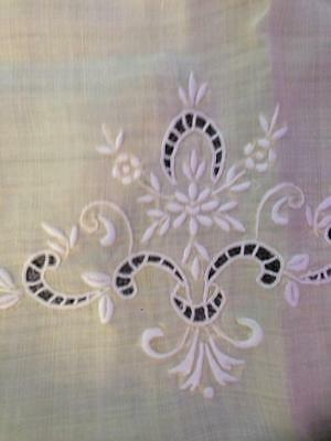 Vintage embroidered Linen.Shabby MARGHAB traycloth+Embroidered linen tablecloth