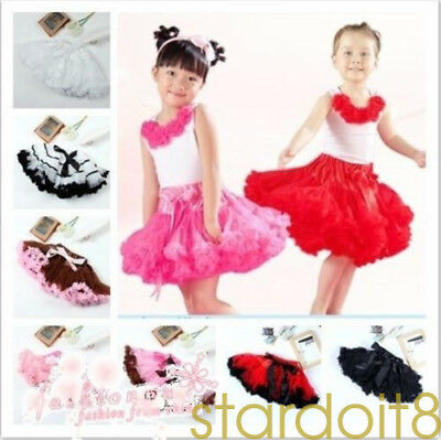 Girl Kids multilayered skirt tutu fluffy skirt dance party Christmas skirt 2-9Y