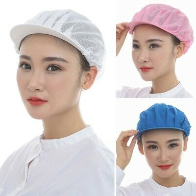 Unisex Catering Cap Chef Food Factory Work Hat Mesh Hat Hair Wrap Solid Color