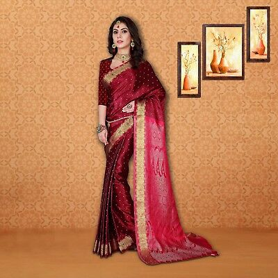 Traditional maroon Color Polyester Silk Saree With Unstichied Blouse Piece-23840