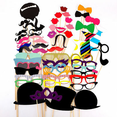 58PCS Masks Photo Booth Props Mustache On A Stick Birthday Wedding Party DIY 5t