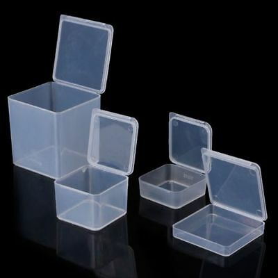 Square Clear Plastic Jewelry Storage Boxes Beads Crafts Case Small Containers