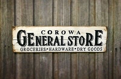 PERSONALISE GENERAL STORE H20CM x L80CM - Rustic Vintage Style Timber Sign