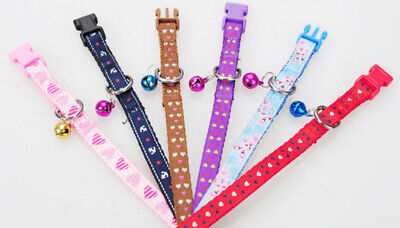Small Colourful Pet Bell Collars for Dogs, Cats, Puppies - Adjustable Clip