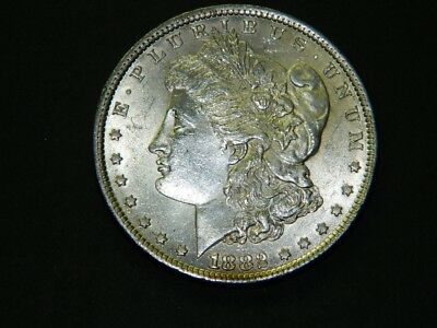 1882 $1 Morgan Silver Dollar, white uncirculated, nice frost