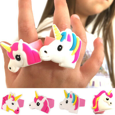 2 x UNICORN RINGS SILICON RUBBER JEWEL GIRLS TOY XMAS CHRISTMAS STOCKING FILLERS
