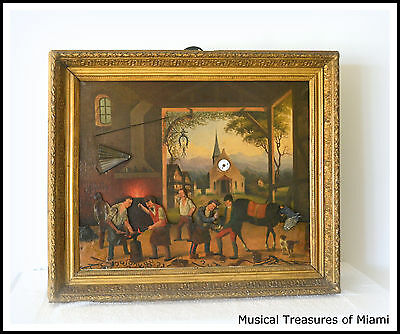 Antique Music Box Painting with Clock & Musical Automaton