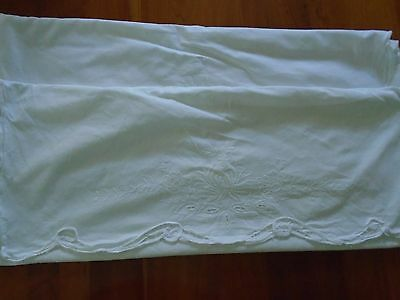Vtg. White Cotton Pillow Sham Embroidered Cutwork 19 X 25""