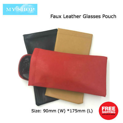 Faux Leather Sunglass Eyeglass Glasses Case Soft Pouch Snap Shut Bag in 6 Colors