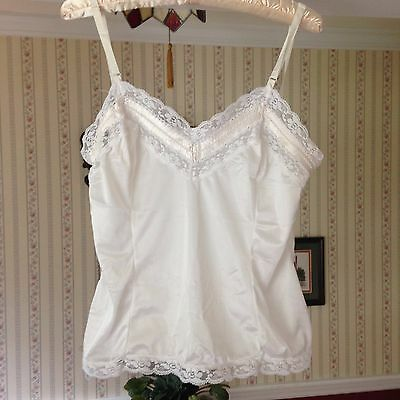 Vintage Mel-Lin Cami Camisole White Lace Ribbon Silky Adjustable Straps M