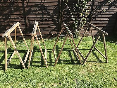 2 Pairs Of Vintage Wooden Trestles Table Stands