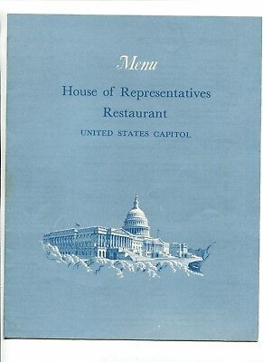 Vintage Restaurant Menu US CAPITOL HOUSE OF REPRESENTATIVE Dining Room 1966