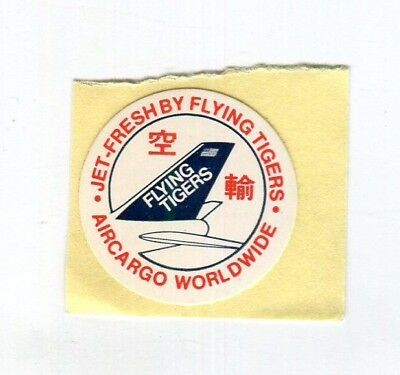 Vintage Airline Label FLYING TIGERS Jet Fresh Air Cargo small