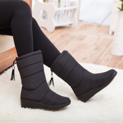 Hot Womens Winter Snow Mid Calf Boots Fur Lining  waterproof Platform Shoes FR