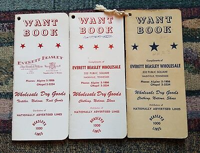 Vintage Set Of 3 Want Books From Everett Beasley Wholesale, Nashville, Tn