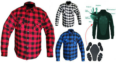 Motorcycle Cotton Flannel Lumberjack Shirt Lined with DuPont™ KEVLAR® CE armour
