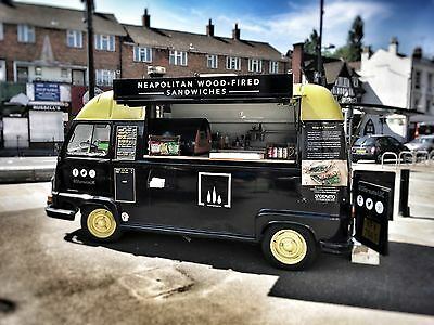 Vintage food van - Renault Estafette - fitted with a wood-fired oven