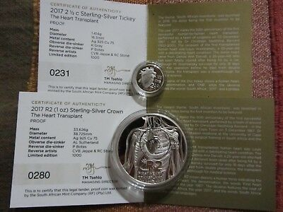 2017  Proof R2 heart transplant silver 1 oz and 2 1/2 cent tickey 2017