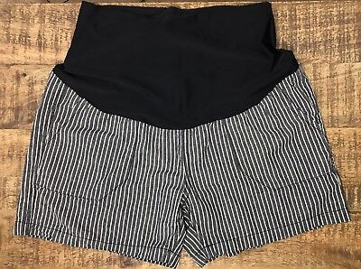 Angel Kiss Maternity Linen Black Striped Shorts Full Belly Panel Sz L Large