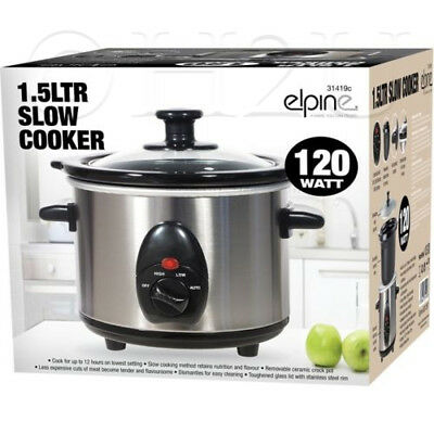 1.5L Slow Cooker Stainless Steel + Removable Inner Ceramic Bowl Steam Grill 120W