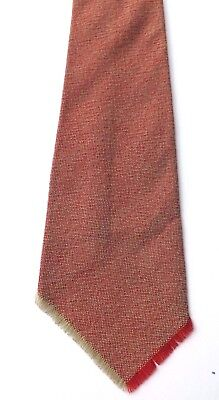 Vintage 1940s 1950s Wool Hopsac Neck Tie Light Green and Red Fine Weave FREE P&P