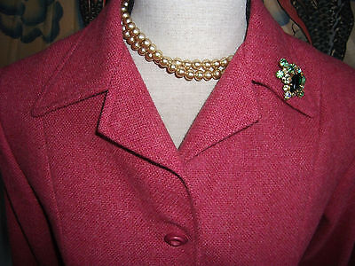 vintage tweed 1940-1950s hip length wool tie-belt suit jacket twinwood 10-12 M