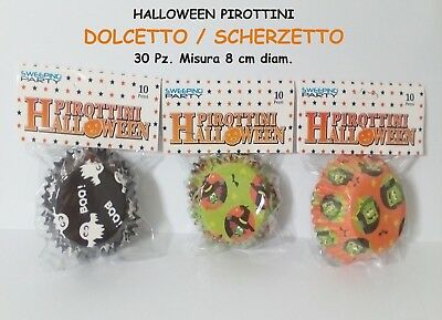 HALLOWEEN PIROTTINI DOLCETTO 30 Pz da 8 cm PARTY FESTA HORROR CAKE DESIGN
