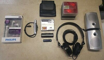 Sony MZ N1 minidisc player walkman minidiscs new Philips headphones/Battery case