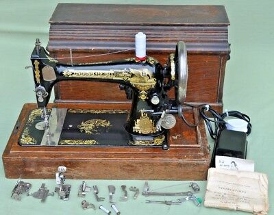 Antique 1908 Singer 27K Electric Sewing Machine, Accessories & Coffin Case