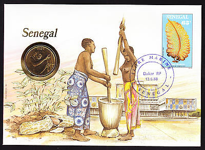 Senegal Africa Afrika Stamp 1988 Dakar cover Numisbrief Native Lady cachet Brief