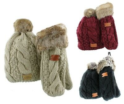 Aran Traditions Cable Knit Bobble Hat & Mittens with Faux Fur Matching Set