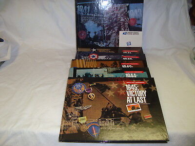 WWII Remembered USPS Stamps & 5 Books with Slipcase Nice