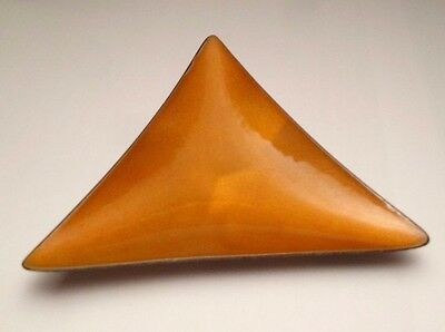 Vintage Old Newbury Crafters Onc Orange Enamel Triangle Dish Sterling Silver 925