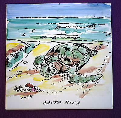 Hand Painted Costa Rica Turtle Tile