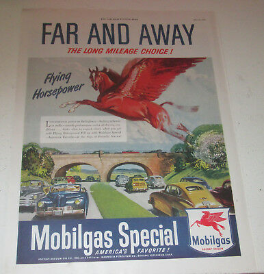 "1949 original ad Mobil Gas & Oil Flying Red Horse ""Far and Away Long Mileage.."""