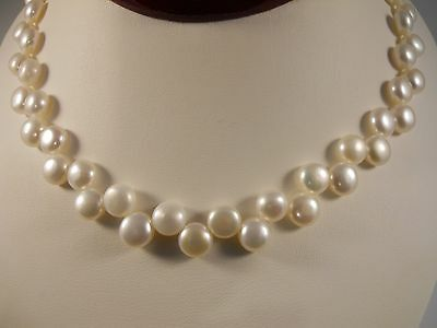 White Flate Freshwater Cultured Pearl Side Drill Necklace With 925 Silver Clasp
