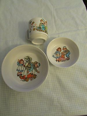 Raggedy Ann and Andy 1969 Plactic Bowls and Cup