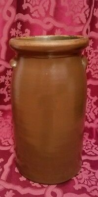 Nice 1860s-1870's Antique Brown Stoneware Ear Crock/Butter Churn/Jug 4 gal.